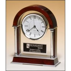 Mantle clock with rosewood piano-finish wood, chrome-plated posts and brushed silver aluminum accents