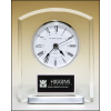 Acrylic clock with polished silver aluminum base. Silver bezel, white dial, three-hand movement