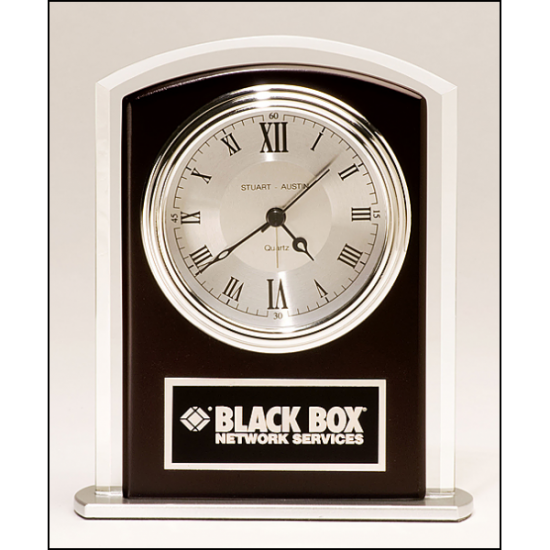 Beveled glass clock with wood accent, silver bezel and dial, three hand movement