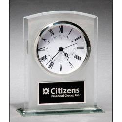 Glass clock with frosted top polished edges and base