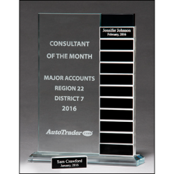 Jade glass award with 12 individual aluminum blocks - Perfect for monthly recognition or milestone awards