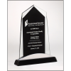 Apex Series glass award black piano-finish base with silver aluminum accent