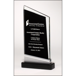 Zenith Series glass award black piano-finish base with silver aluminum accent