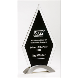 Diamond Series Award featuring a beveled glass upright on a brushed silver aluminum base.