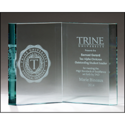 Jade glass book. Ideal for graduation, educational or religious recognition.