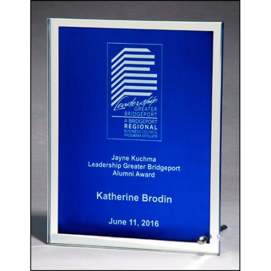Glass plaque with blue silk screened center and mirror border
