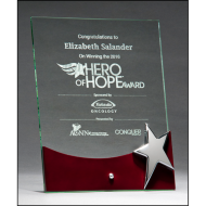 Free standing glass award with high gloss rosewood accent and silver star