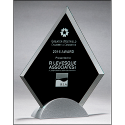 Diamond-shaped glass award with black silk screen on silver metal base