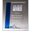 Clear glass award with sapphire blue highlight, silver plated easel post