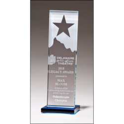 Etched clear glass award with star and mountain peak with blue glass base