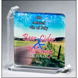 Sublimatable glass award with acrylic stand
