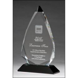 Arrow shaped crystal award with black accent on black crystal base