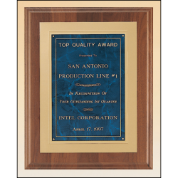 Solid American walnut plaque available in 3 marble finishes
