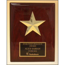 Star casting with gabled points Goldtone finish on rosewood piano-finish plaque