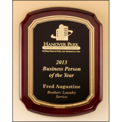Rosewood piano-finish plaque featuring a gold florentine border with textured black center engraving plate