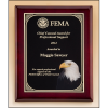 Rosewood piano-finish plaque with high definition eagle head plate