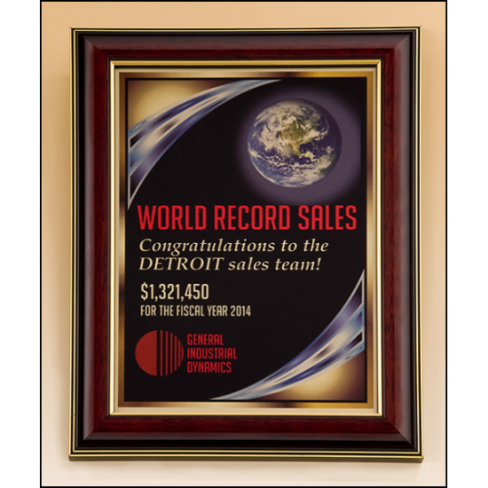 High gloss mahogany stained frame with gold sublimatable plate
