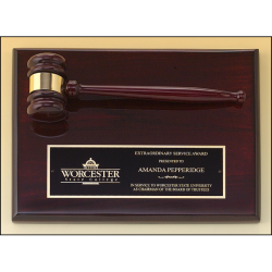 Rosewood stained piano finish gavel plaque
