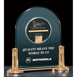 """Airflyte Series 3/16"""" thick acrylic award with CAM medallion on a gold-plated brass base with columns"""