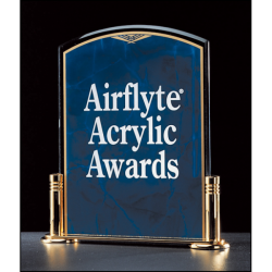 "Airflyte Marble Design Series 3/16"" thick sapphire acrylic award on a gold metal base with columns"