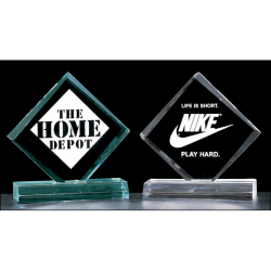 "Diamond series 3/4"" thick acrylic award on acrylic base available in jade or clear acrylic"