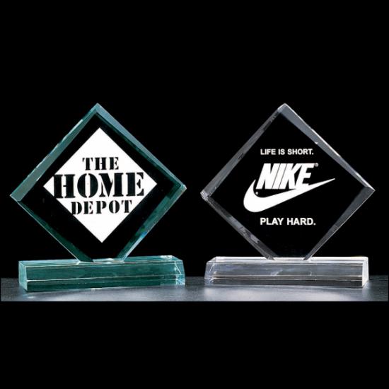 """Diamond series 3/4"""" thick acrylic award on acrylic base available in jade or clear acrylic"""