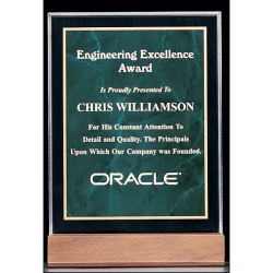 """Marble Design Series 3/4"""" thick polished acrylic award with an emerald marble center on a solid American walnut base"""