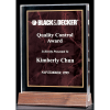 """Marble Design Series 3/4"""" thick polished acrylic award with a ruby marble center on a solid American walnut base"""