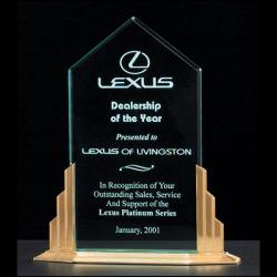 """Peak Series 1/2"""" thick polished acrylic award on a goldtone finish aluminum base"""