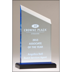 Zenith Series acrylic award. Clear upright with blue accents, black acrylic base with blue mirror top