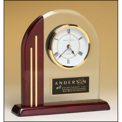 Arch clock with glass upright and rosewood piano-finish post and base
