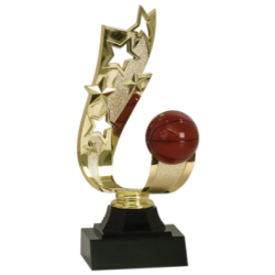 Offset Ribbon Basketball Trophy