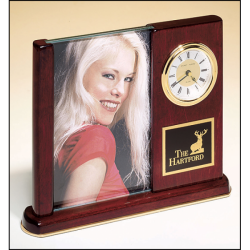 Rosewood stained piano finish desk clock with glass picture frame