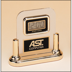 Acrylic Airflyte clock with LCD movement on a gold base