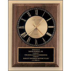 American walnut vertical wall clock with round face