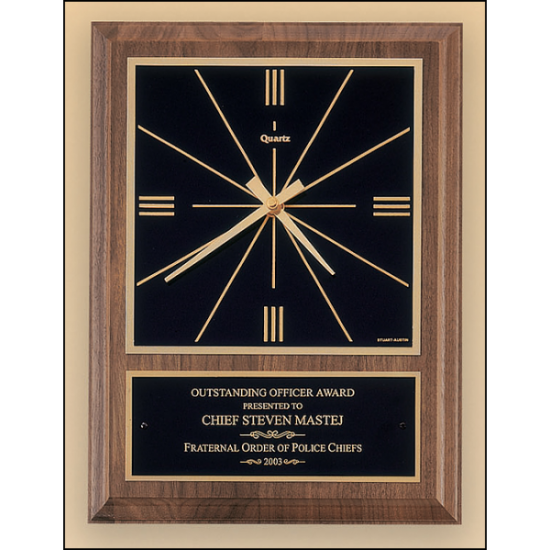 American walnut vertical wall clock with square face