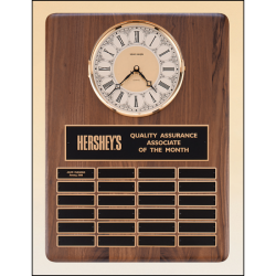 American walnut vertical wall clock with 24 plates.