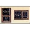 American walnut wall clock that can hang in either a vertical or a horizontal position