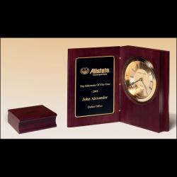 Hand-rubbed rich mahogany finish book clock, gold spun dial, three hand movement