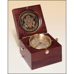 Captain's Clock with solid brass clock housing in a hand rubbed mahogany-finish case