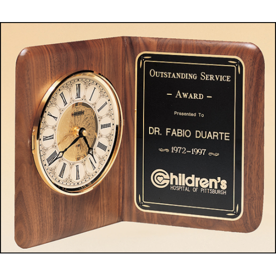 American walnut clock with a brass diamond-spun bezel with glass lens and ivory dial