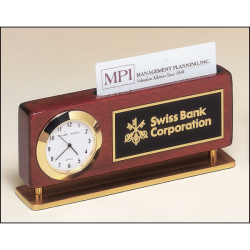 Rosewood stained piano finish combination clock and business card holder with gold metal accents
