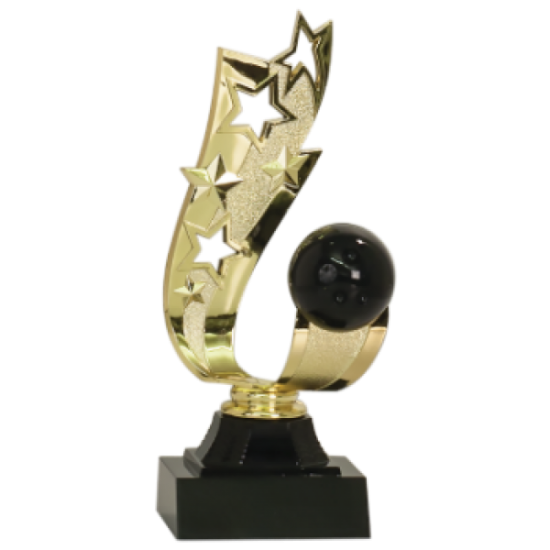 Offset Ribbon Bowling Trophy