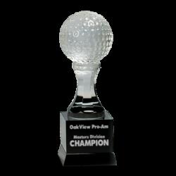 Crystal Golf Ball On Black Pedestal