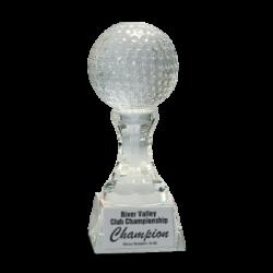 Crystal Golf Ball On Clear Pedestal