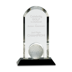 Crystal Golf Ball Arch On Black Pedestal