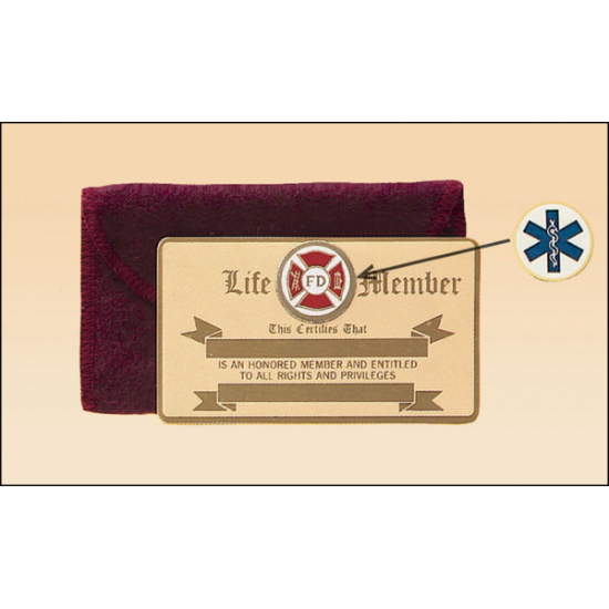 """Bronze wallet card with 7/8"""" diameter organizational insert. Supplied with a flannel bag."""