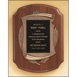 American walnut Airflyte plaque with furniture finish and an antique bronze finish frame casting.