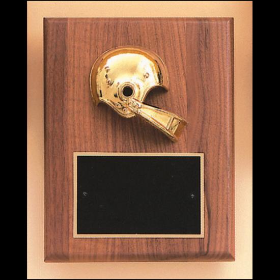 Football casting solid walnut plaque