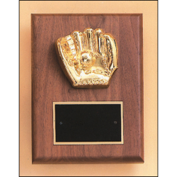 Baseball casting solid walnut plaque